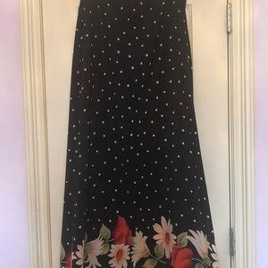 Vintage Judy Knapp black floral/polka dot skirt